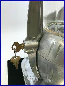 RARE Vintage 1940's ATLAS BANTAM PEANUT Gumball Vending Machine 5 Cents with Keys