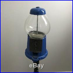 RARE -Vintage Carousel Glass Gumball Candy Machine 1985 Blue & Black Metal Stand