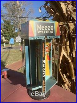 RARE Vintage Necco Wafers Rotating Display Rack Store Counter Candy Dispenser