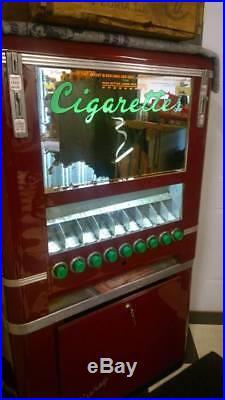 RARE Vintage c1952 KEENEY CIGARETTE Tobacco soda Art dec Vending Machine NICE