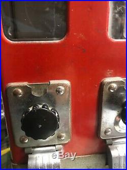 Rare Vintage Double Nickel 5 Cents Red 13-14 Gum Ball Vending Machine W Key
