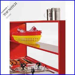 Red Vintage Carnival Hot Dog Cart Portable Commercial Hotdog Roller Drink Stand