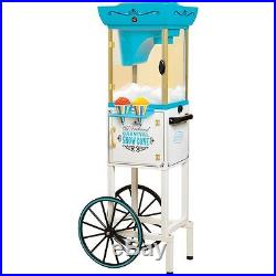 Shaved Ice Snow Cone Maker with Matching Storage Cart Stand, Vintage Style Machine