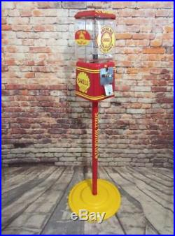 Shell Motor oil vintage Acorn glass globe gumball machine + stand man cave bar