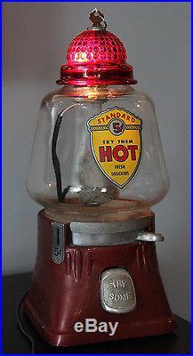 Silver King Hot Nut Machine Vintage Nickel Peanut Vending Tested & Works! 5 Cent