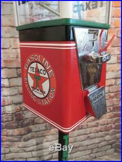 TEXACO PETROLEUM vintage candy machine gumball machine with metal stand