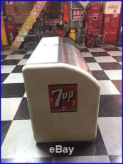 True 7up 2 Door Cooler Victor Vintage Embossed