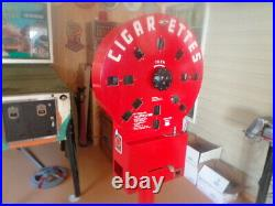 VINTAGE 1940's DIAL A SMOKE CIGARETTE VENDING MACHINE WITH KEY AND STAND