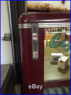 Vintage 1948 Keeney Cigarette Machine Coin Operated Red Machine Indiana