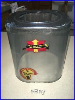 VINTAGE 1950's OAK ACORN GOLDMINE 1 CENT TAB GUM SELECTOR MACHINE with KEY & WORKS