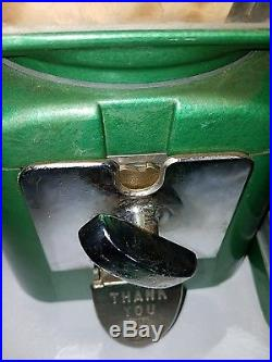 VINTAGE 1950s NATIONAL GUM AND PEANUT/CANDY VENDOR COIN OP MACHINE w KEY & DECAL
