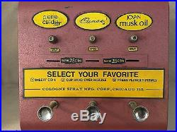 VINTAGE 1960's COIN OPERATED SPRAY COLOGNE DISPENSER / VENDING MACHINE