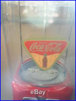 VINTAGE- 1960's Coca Cola THEMED Oak Candy / guumball Machine Glass globe NICE