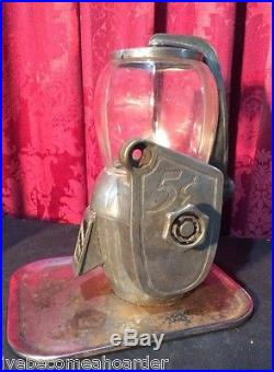 Vintage Antique Art Deco 5 Cent Peanut Coin Op Vending Machine