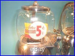 Vintage Antique Atlas Bantam Dual Gumball Peanut Vending Machine