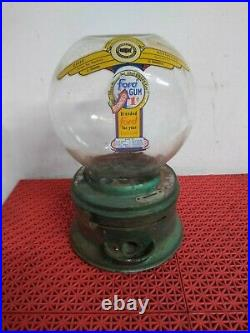 VINTAGE ANTIQUE FORD wide mouth GUMBALL MACHINE 1 Cent. No Key. Glass Globe