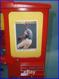 Vintage Antique Oak Premiere Baseball Card Trading Vendor And Gumball Machine