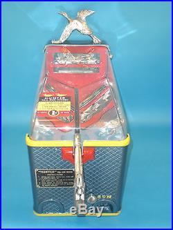Vintage Antique Silver King Duck Hunter Gumball Vending Machine & Game