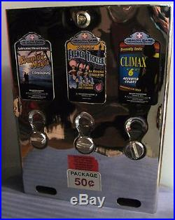 Vintage Chrome 3 Column Condom Machine
