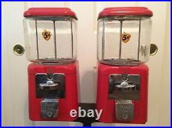 VINTAGE Double ACORN Gumball Candy Machine + Stand + Keys - Five Cents Nickel