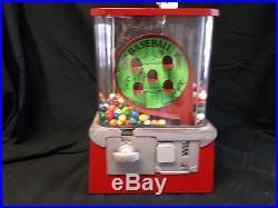 VINTAGE GUMBALL PEANUT CANDY VENDING MACHINE- One Cent Baseball Themed -COAST