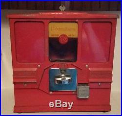 Vintage Premiere Oak 1 Cent Gumball & Baseball Card Vending Machine For Parts