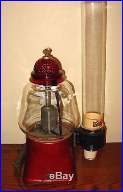 VINTAGE Silver King 5 Cent Hot Nut Machine Peanut Vending Glass Cup Dispenser