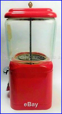 VIntage OAK Mfg Co L A Calif ACORN Red Gumball Machine Key Wavy Glass Canister