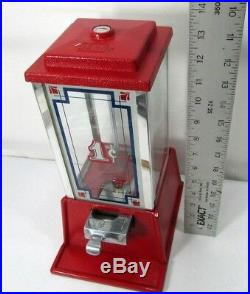 VTG Dean Penny Gumball Candy Vending Machine Red Glass Vending art deco design