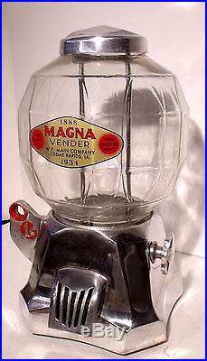 Vtg Magna Vending Machine, Coin Op Vendor, Peanuts, Gum, Candy, Hot Nut, Store Display
