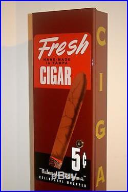 VTG Tampa Cigar VENDING MACHINE COIN OP, DISPENSER, VENDOR GUM, NUTS, DISPLAY SIGN