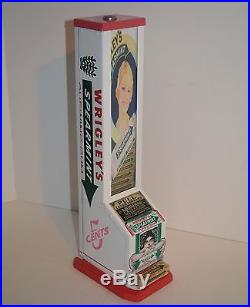 Vtg Wrigleys Vending Machine Coin Op, Dispenser, Vendor Gum Case, Nuts, Display Sign