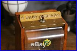 Victor 5 Cent Baby Grand Oak Wood Cabinet Peanut Gumball Machine and Key Vintage