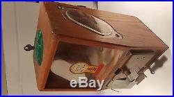 Victor Vending Baby Grand One Cent Gum Ball Star Vintage Antique Oak Cabinet