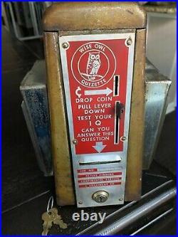 Vintage1950s Wise Owl Quizette Napkin Holder 1¢ Fortune Teller Trade Stimulator