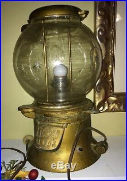 Vintage 1901 ANTIQUE COLUMBUS PEANUT GUMBALL MACHINE 1 cent with original Locks