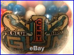 Vintage 1915 Bluebird 1 Cent Gumball Peanut Coin Op Vending Machine All Original