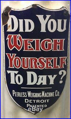 Vintage 1920's Penny Floor Scale Lollipop Scale Peerless Weighing Machine Co