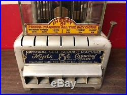 Vintage 1925 National Self-service Machine 5 Cent Coin Op Chicago Gum & Candy