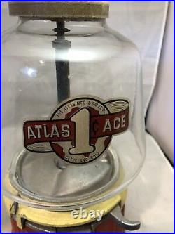 Vintage 1930's Atlas ACE Penny Coin Op Vending Gumball / Peanut Machine