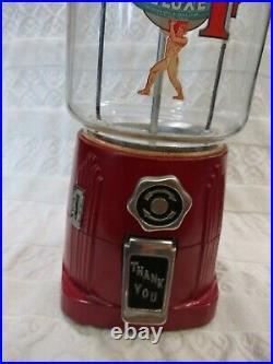 Vintage 1930's Atlas Deluxe Penny Coin Op Bulk Vending Machine Gumball Peanut