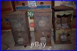 Vintage 1930's Neko Art Deco Gumball Peanut Vending Machines Lot of 3