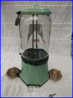 Vintage 1934 Columbus Model 21 Penny Coin Op Bulk Vending Gumball Peanut Machine