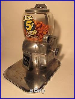 Vintage 1940's Atlas Bantam 5 Cent Candy Peanut Gum California Almond Machine