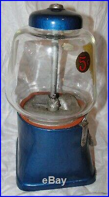 Vintage 1940's Standard Silver King 5 Cents Nut Gum Ball Machine WORKS with KEY