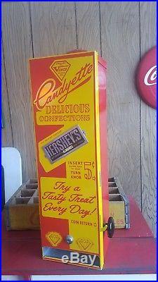 Vintage 1940's VENCO CANDYETTE 5 Cent/Nickel Candy Bar Machine Hershey Goodbar