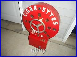 Vintage 1940s DIAL A SMOKE Cigarette Coin Operated Vending Machine w Key