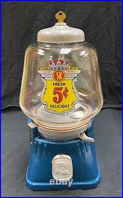 Vintage 1940s restored Silver King 5 Cent Vending Machine Gum Ball Peanut