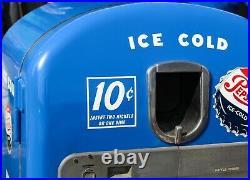 Vintage 1949 Blue Retro Round Top VMC 27 Pepsi Cola Machine Cooler Dispenser