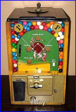 Vintage 1950's 1 Cent Victor Baseball Pinball Flip Gumball Machine